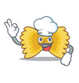 chef farfalle pasta character cartoon vector image vector image