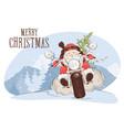 christmas card - santa biker vector image vector image