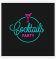 cocktail party logo round linear logo cocktail vector image vector image