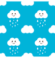 Cute cloud with water drops rain seamless pattern vector image