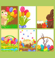 easter openings chocolate bunny colored egg tulips vector image vector image