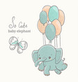 Elephant with butterfly flying on baloon