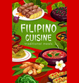 filipino cuisine meal poster dishes vector image vector image