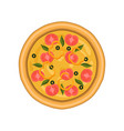 freshly baked pizza with tomato basil and olives vector image vector image
