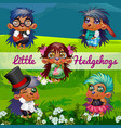 funny poster with image cute hedgehogs on a vector image vector image