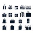 gift wrapping icons with boxes gifts for vector image