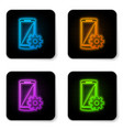 glowing neon setting on smartphone screen icon on vector image vector image