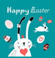 greeting easter greeting card with eggs and vector image vector image