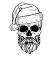 hand drawn angry skull of santa claus vector image vector image