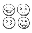 hand drawn positive scribble smile sketch icon set vector image