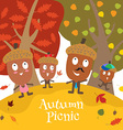 happy acorn family vector image vector image