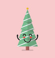 happy christmas tree character vector image vector image