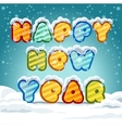 Happy New Year 2017 hand-lettering text on snowy vector image vector image