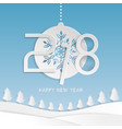 happy new year 2018 text design with snowflake vector image