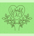 heart with wreath peace message drawn vector image vector image