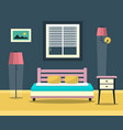 hotel room - interior with bed furniture and vector image vector image