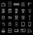 household line icons on black background vector image vector image