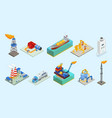 isometric natural gas industry elements set vector image vector image