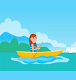 kayaking girl sitting in boat vector image vector image