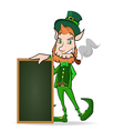 leprechaun with chalkboard character cartoon style vector image