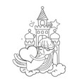 line sleeping girl with heart in the castle and vector image