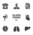 medical glyph icons set vector image