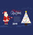 merry christmas festive picture postcard santa vector image