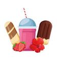 milkshake and ice creams with strawberries vector image vector image