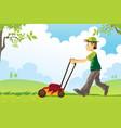 mowing lawn vector image
