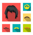 mustache and beard hairstyles flat icons in set vector image