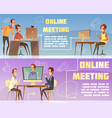 online meeting banners set vector image