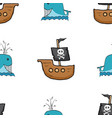 pirate boat and whale seamless pattern cute vector image vector image