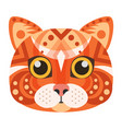 red cat head logo decorative emblem vector image vector image