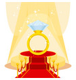 ring on red carpet vector image vector image