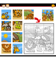 safari animals jigsaw puzzle game vector image vector image