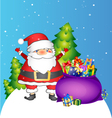Santa and bag with gifts vector image vector image