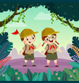scout boy and scout girl hiking in forest vector image