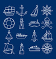 sea collection of ship icons in line style vector image vector image