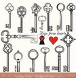 set of hand drawn keys set in vintage style vector image vector image