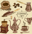 Set of isolated coffee icons vector image vector image