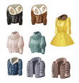 set of womens animated clothing isolated on a vector image