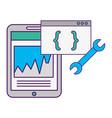 smartphone statistics chart coding program tool vector image