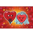 Wedding groom and bride Valentine heart vector image vector image