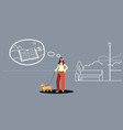 woman walking with dog girl listening audio book vector image