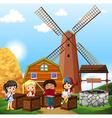 Children reading in the farm vector image