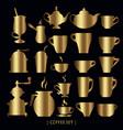 gold tea coffee cups pot set vector image