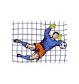 Soccer football goalie keeper saving goal vector image