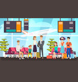 airport passengers waiting for flight flat vector image