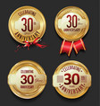 anniversary retro golden labels collection 30 vector image vector image