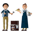barista in uniform apron and hat coffee machine vector image